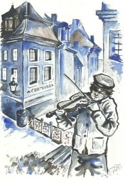 violoniste dans une rue de Prague
