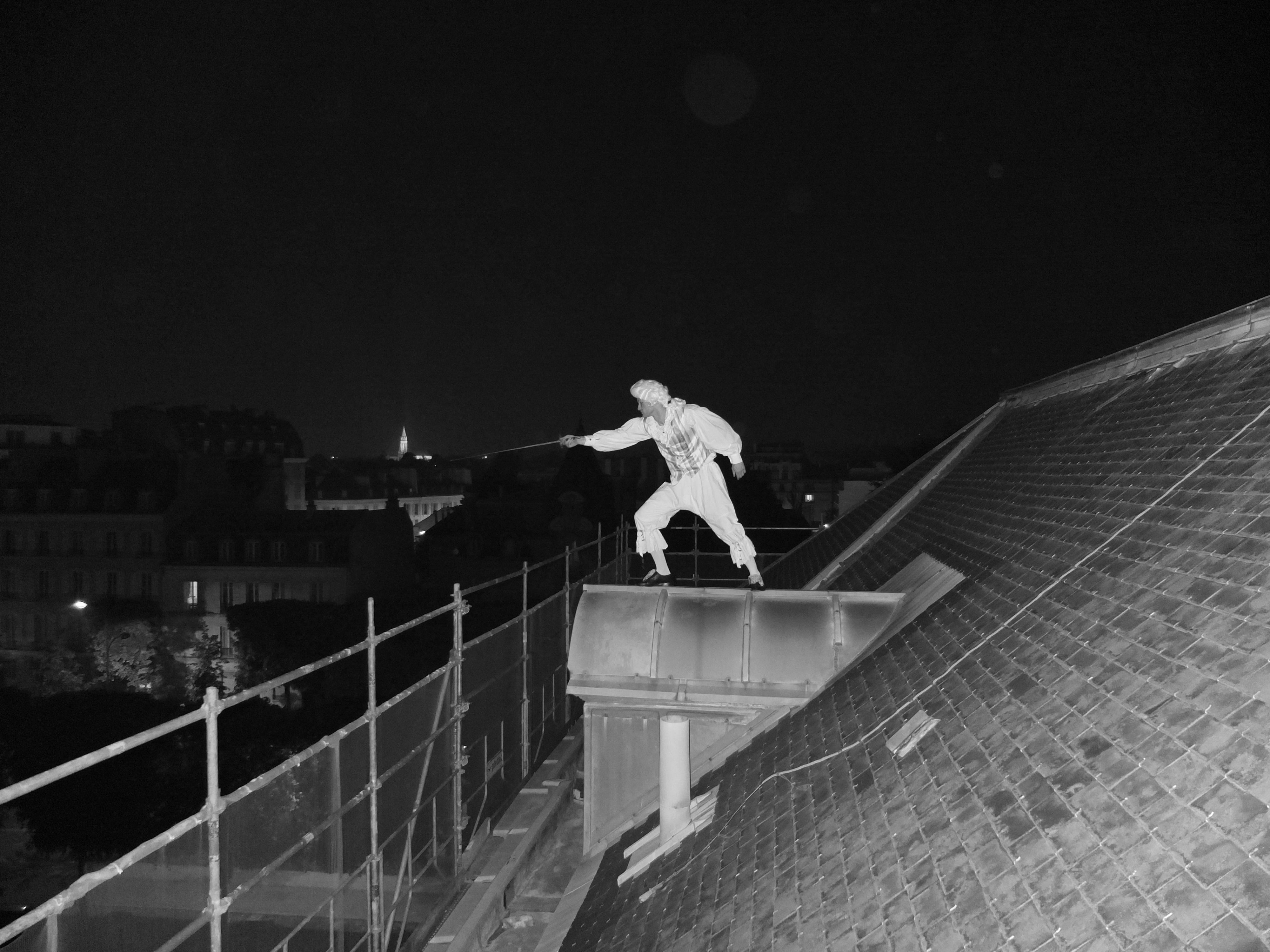 escrimeur sur un toit au clair de lune